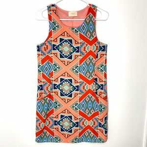 Everly Blue Red and Peach Aztec Print Dress Size S